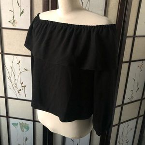 XSmall Wilfred Off Shoulder Ruffle Top - Black